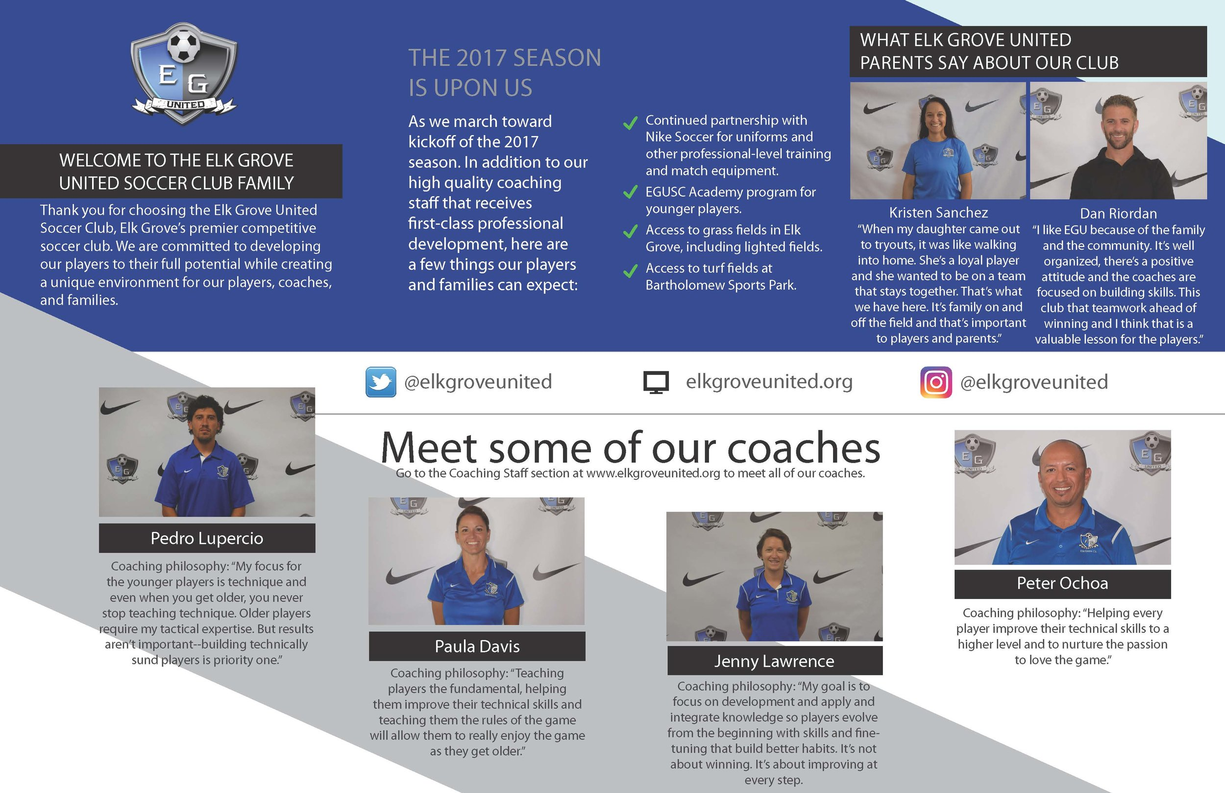 page two of two of elk grove united soccer club information brochure