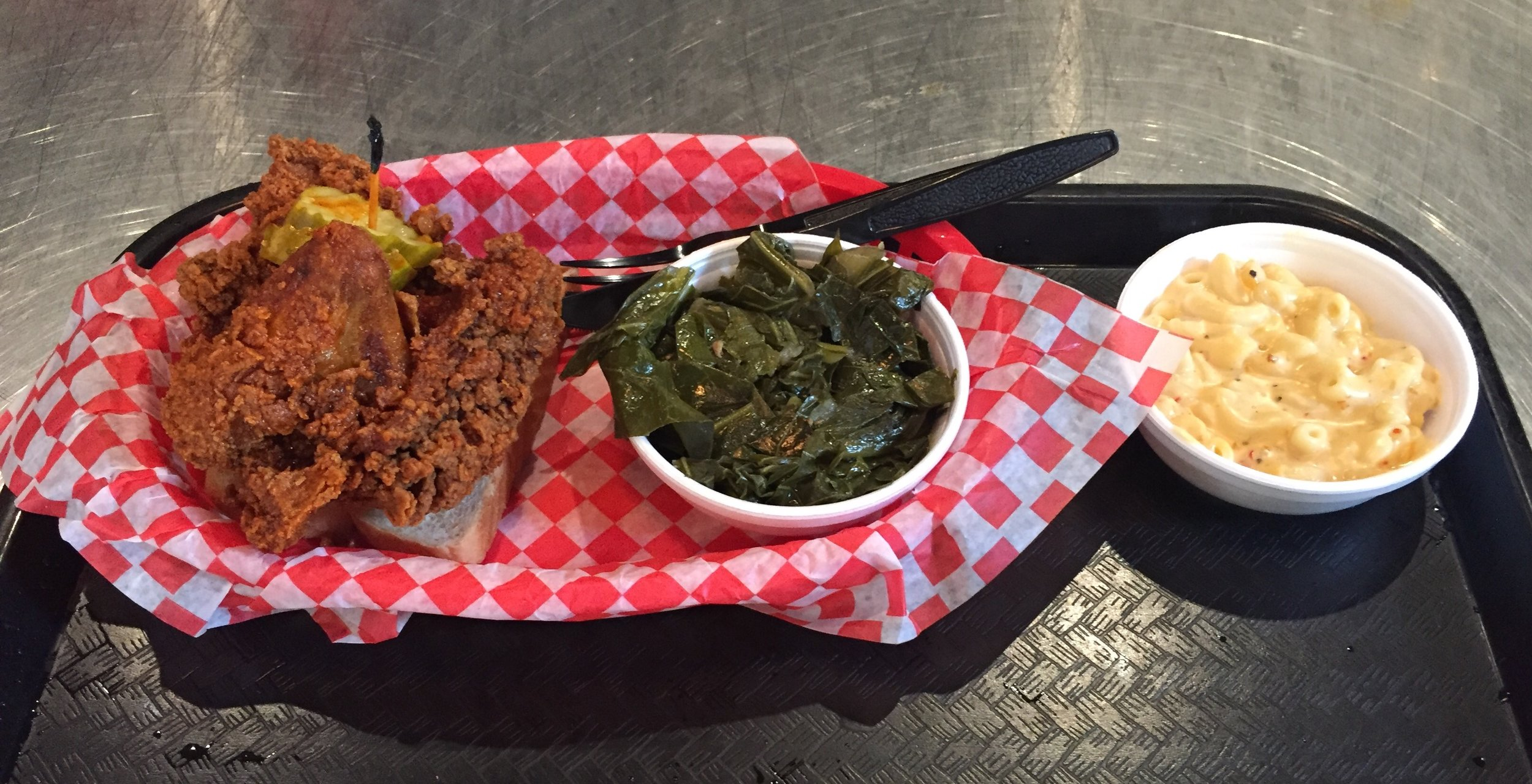 Hattie B's - Hot chicken (mild), southern greens, and pimento macaroni and cheese.