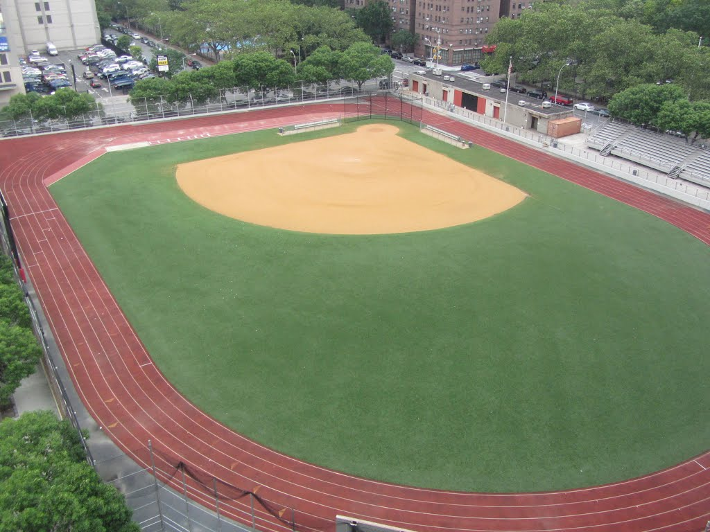 View of the baseball field & track from the Manhattan Bridge.
