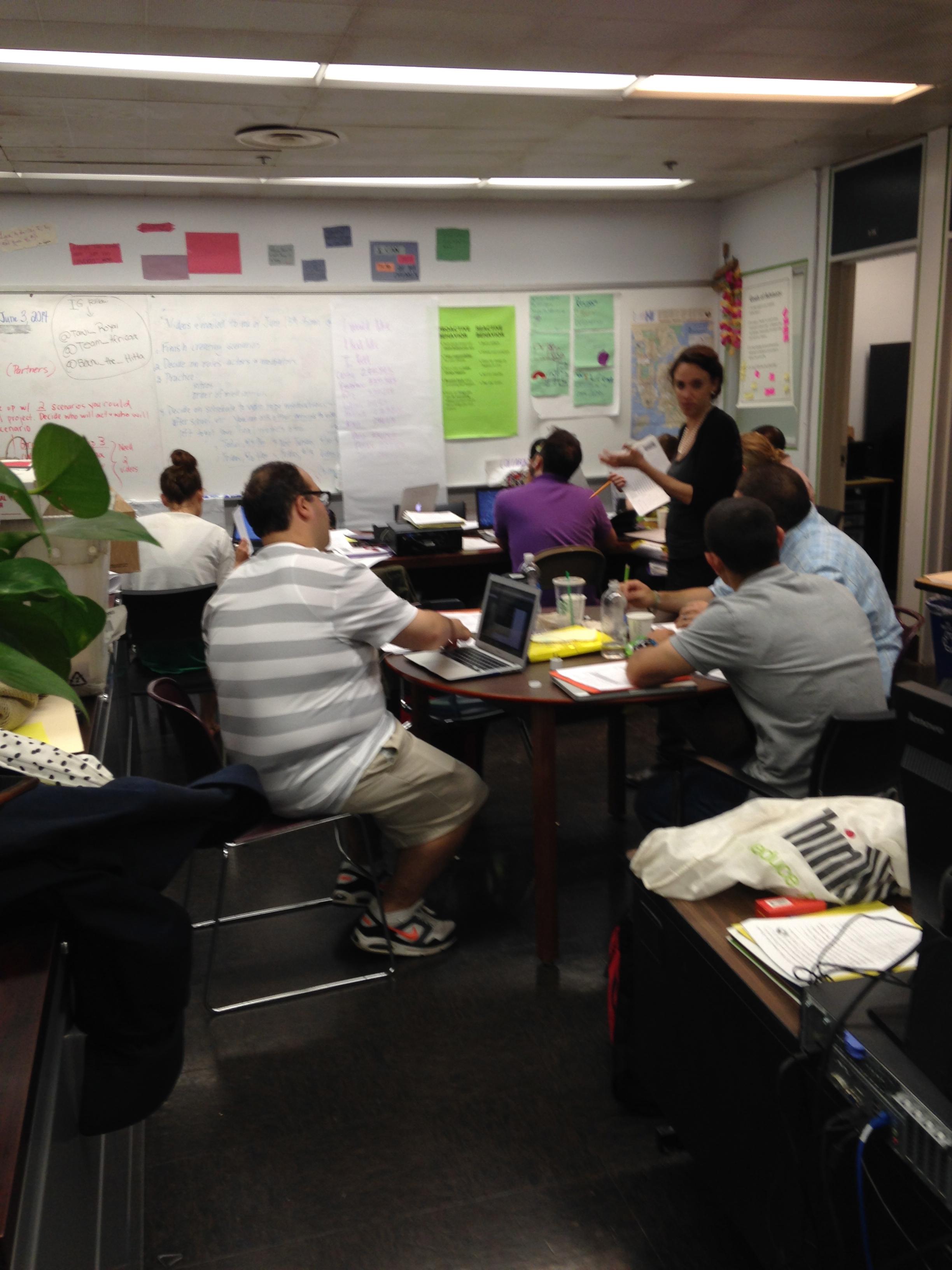 Teachers hard at work in the main office.