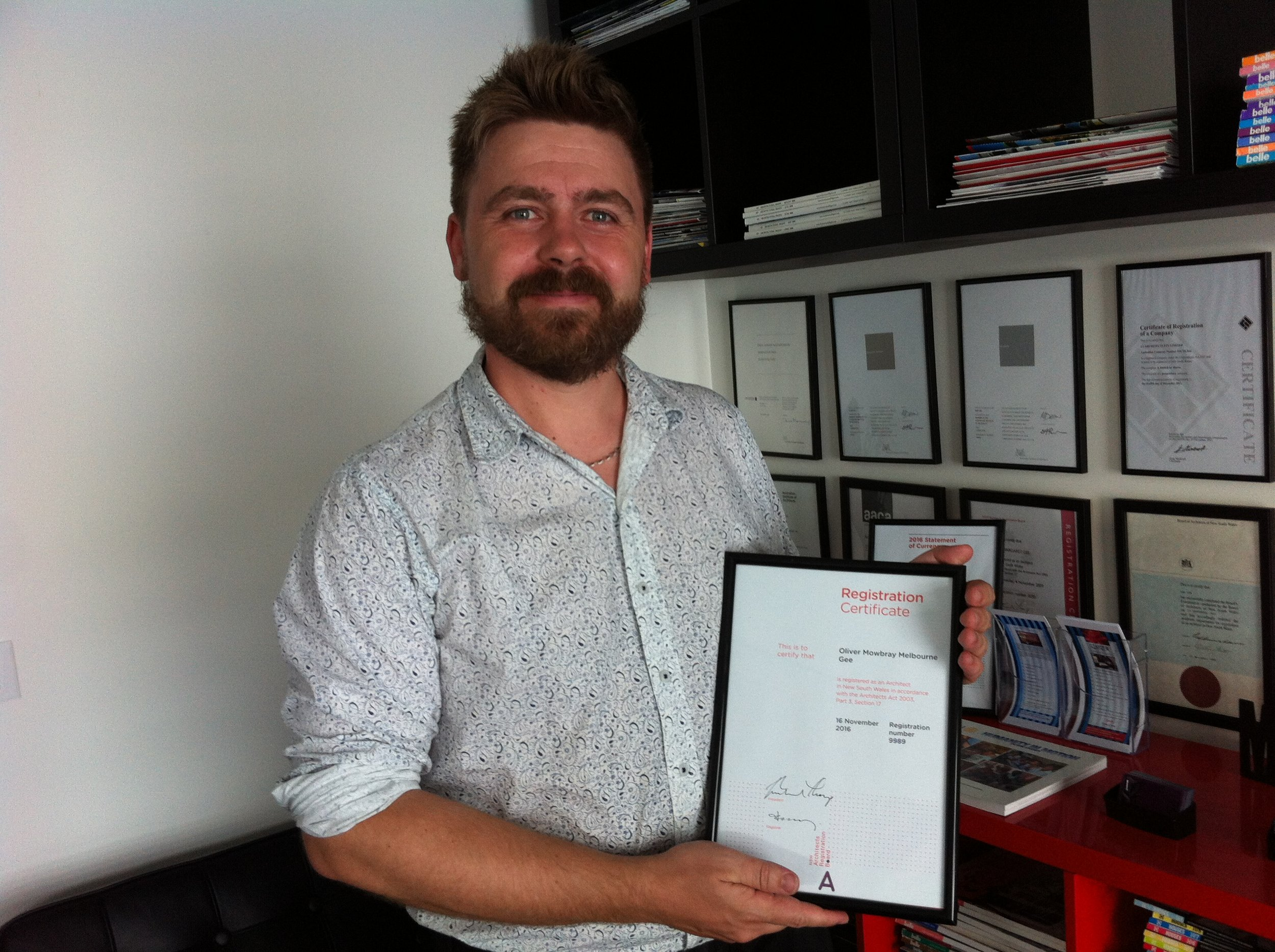 Oliver Gee- Registered Architect 16 November 2016