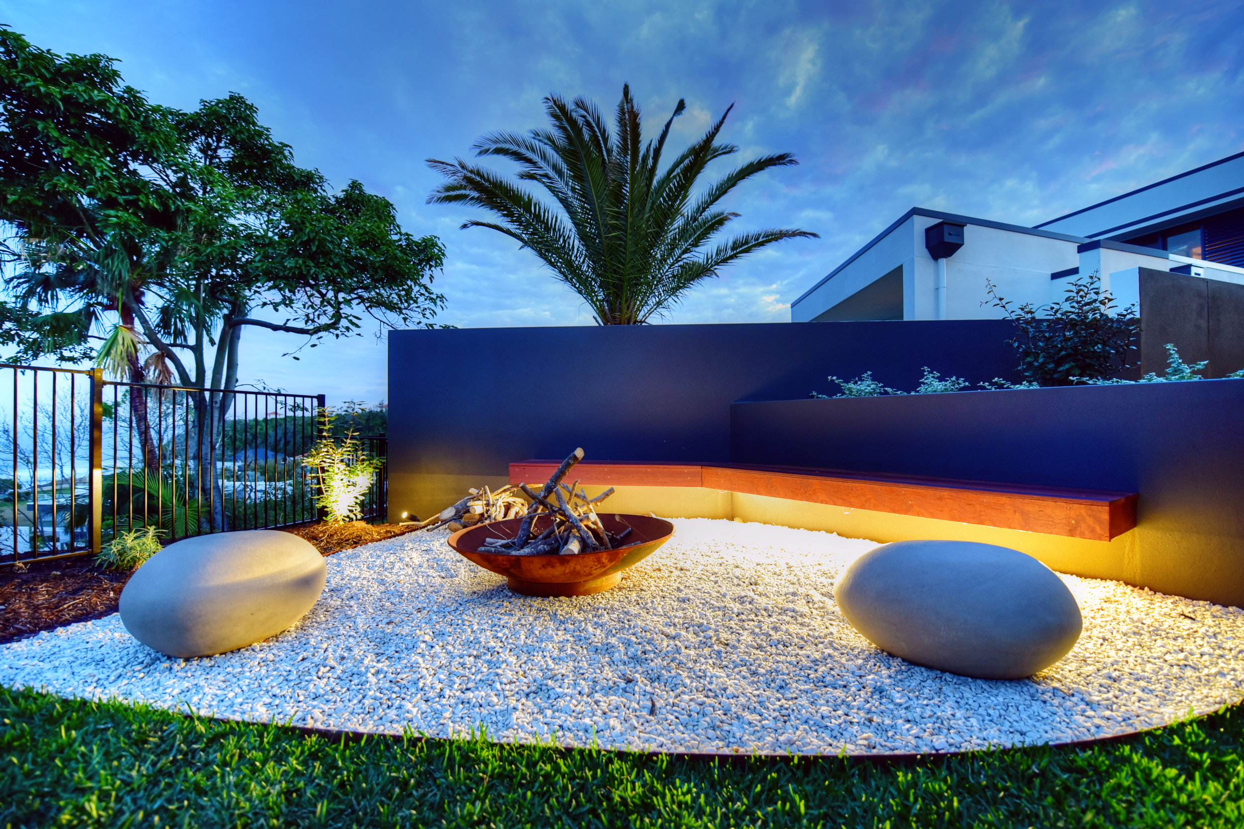 Outdoor Firepit Atrium Residence  Claudia Nevell- Garden Expressions.