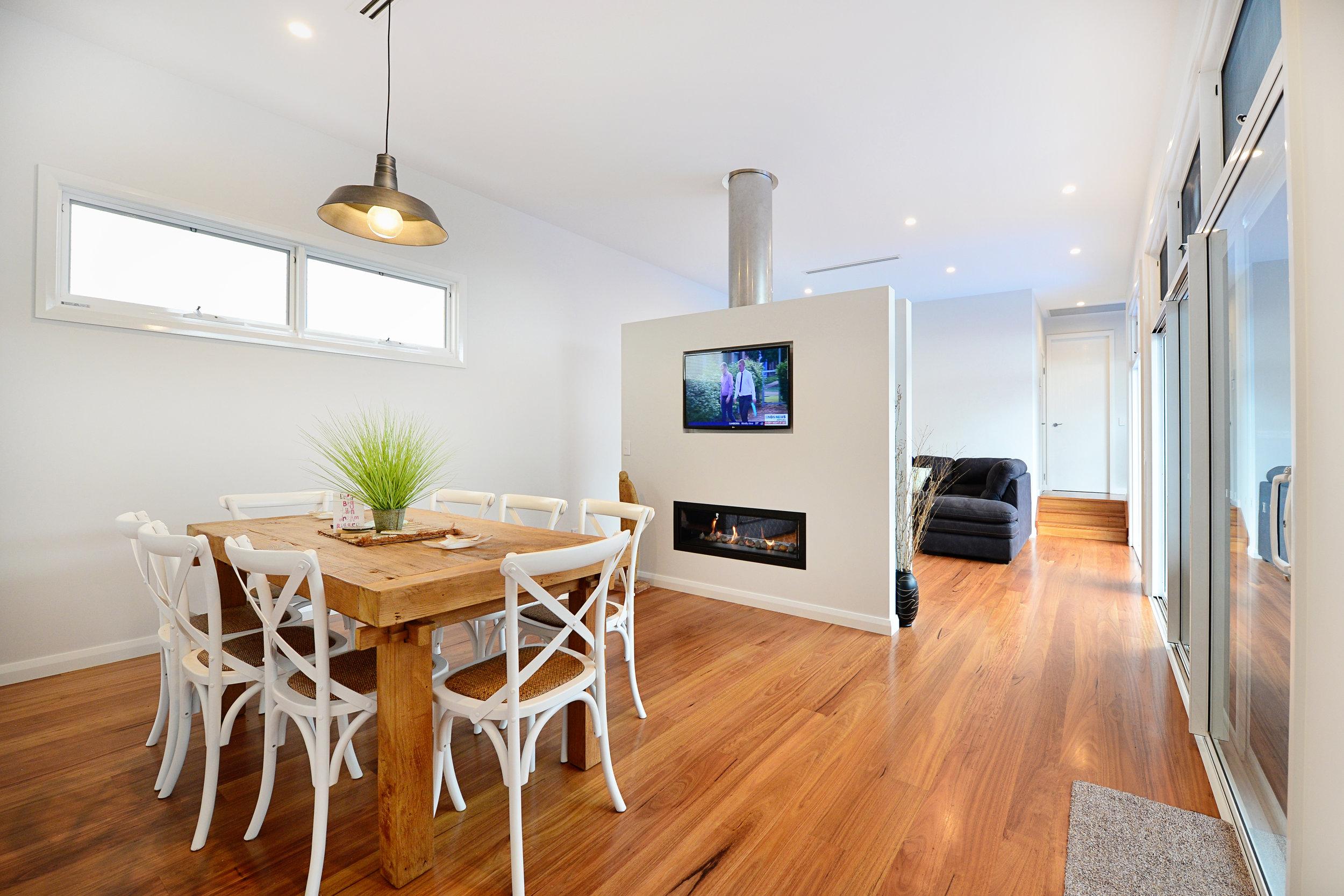 Love Shacks / Beach Shacks modern double-sided fireplace.