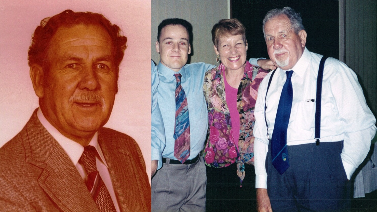 Leo Oswald and with wife Maureen and son Mark.