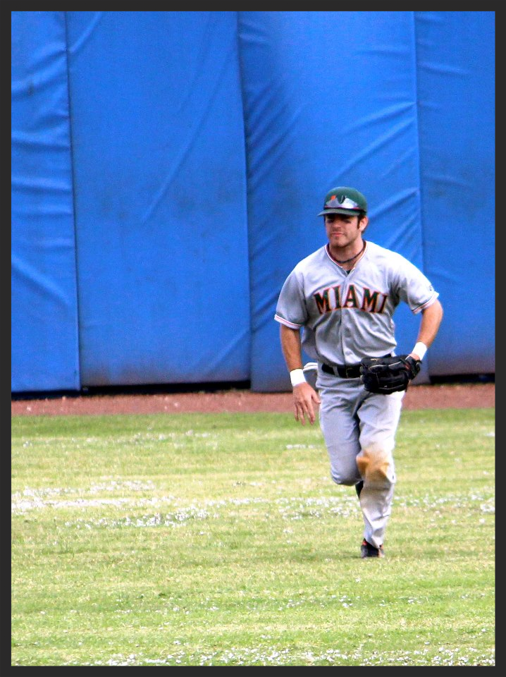 Matt Corrigan patrols the outfield.