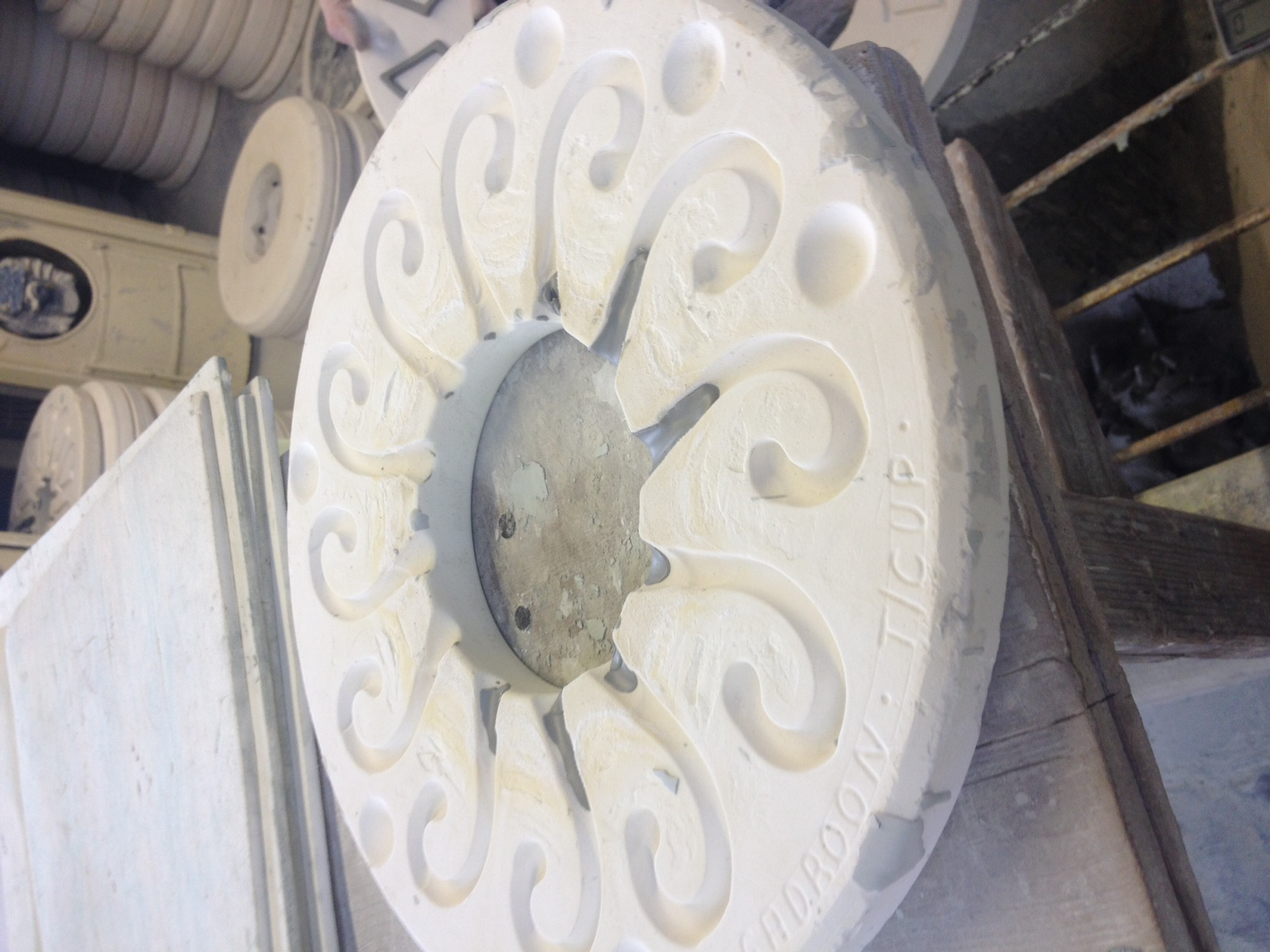 Tea cup handle moulds, liquid clay is poured into these moulds to form the solid handles.