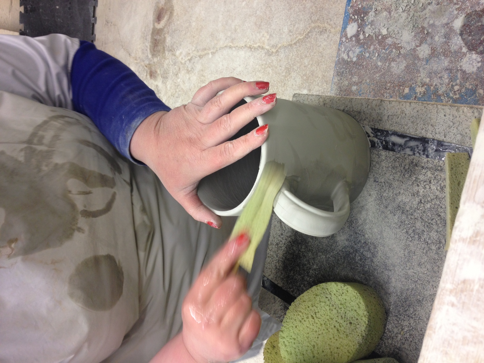 The Sponger, cleaning up any seem lines around the handle and cup.