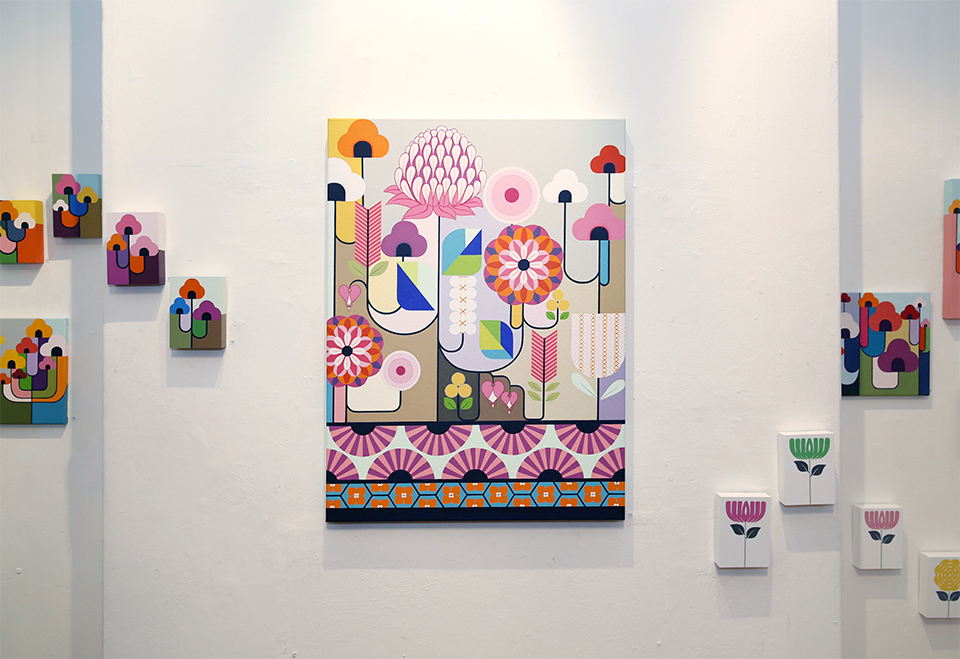 One wall of my 'haru'-spring exhibition at Urban Cow Studio