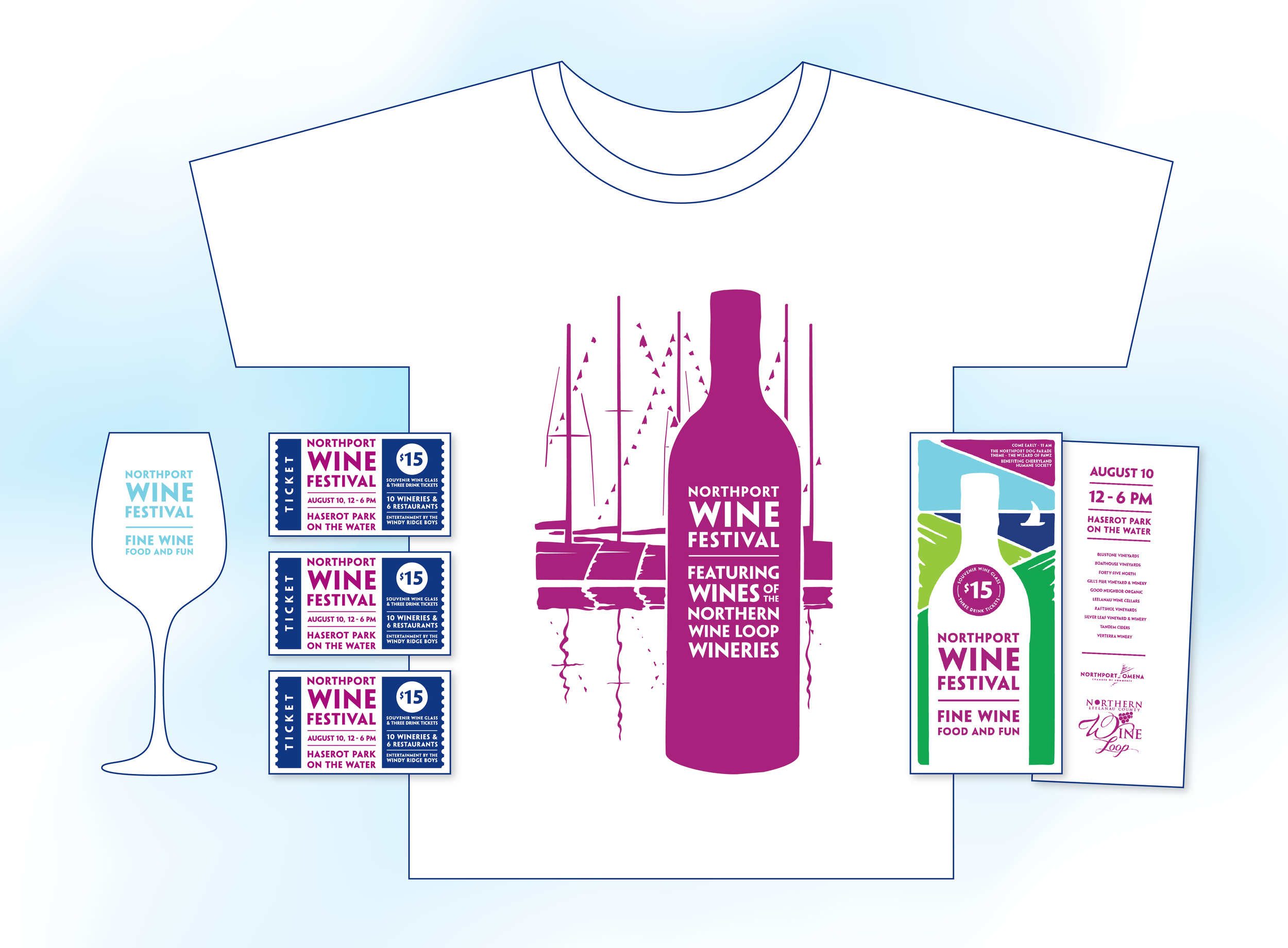 Branded wine glass, tickets, shirt and rack card.  Click to enlarge.