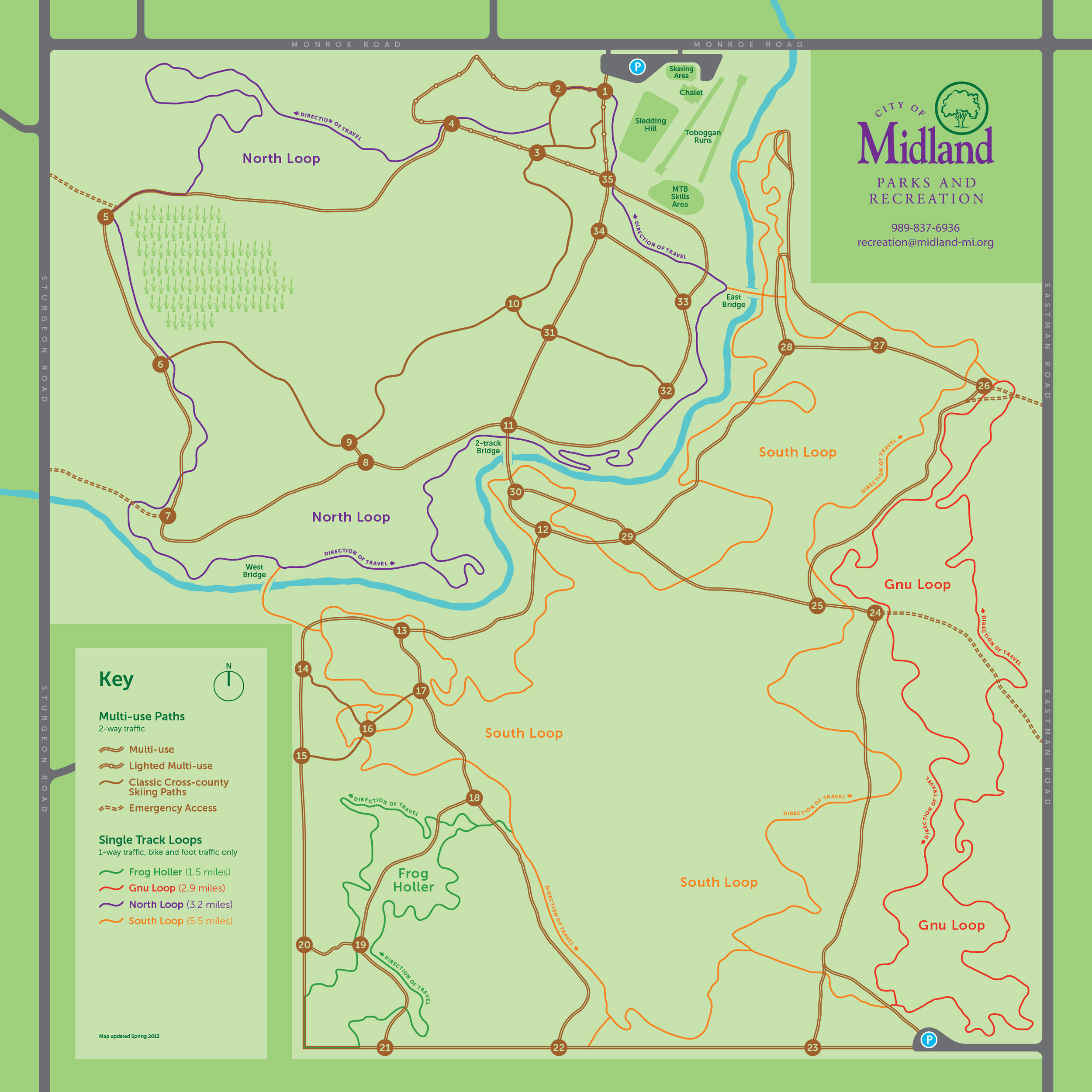 CITY FOREST, MIDLAND, MI - TRAIL MAP