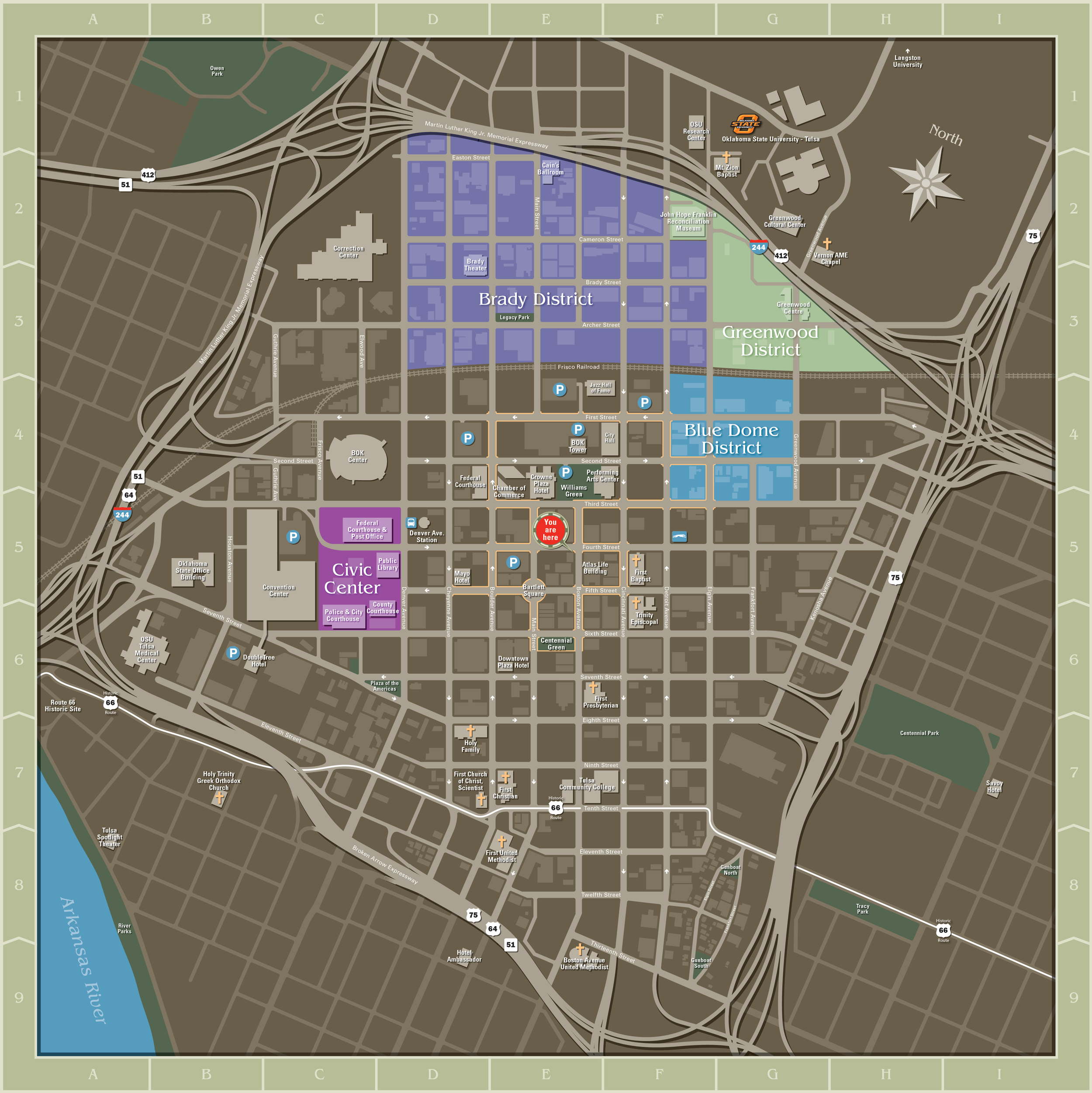 DOWNTOWN TULSA - PEDESTRIAN DIRECTORY MAP