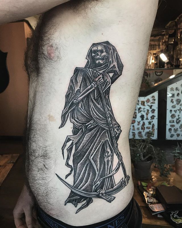 Grim Reaper by @nickfilth Nick is available by appointment only Tuesday-Saturday • 12:30-7pm #grimreapertattoo #grimreaper #blackandgrey #hiddenhistorytattoo #newhampshire #dovernh