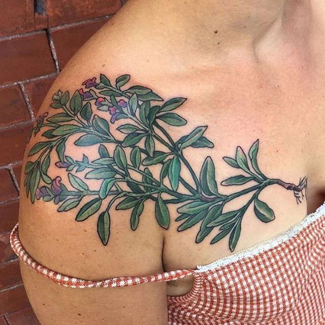 Desert Sage by @scottquinney  Scott is available for walk-ins and appointments Tuesday-Saturday • 11am-7pm #desertsage #sagetattoo  #hiddenhistorytattoo #newhampshire #dovernh #doversfinest