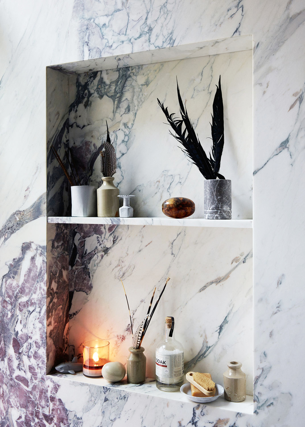 Marble shelving detail - Jenna Lyons bathroom featured on  Coco Kelley