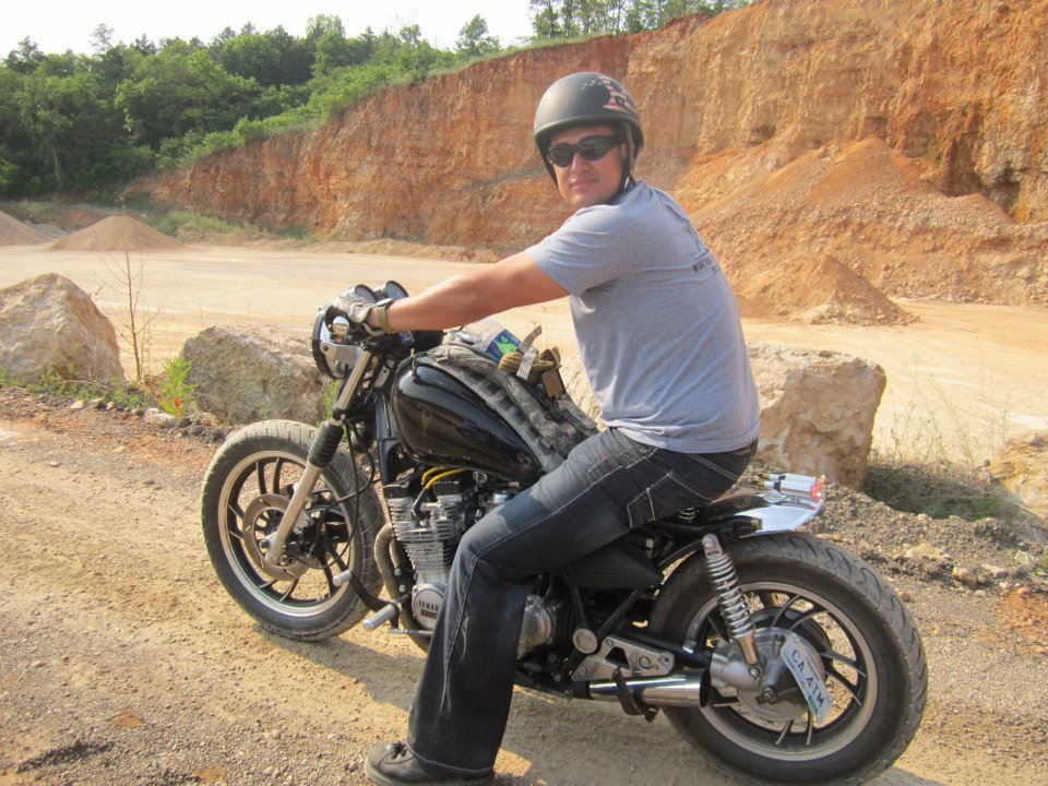 Riding a Quarry near Eminence, MO, on a Dine' Metalworks built Yamaha Bobber.