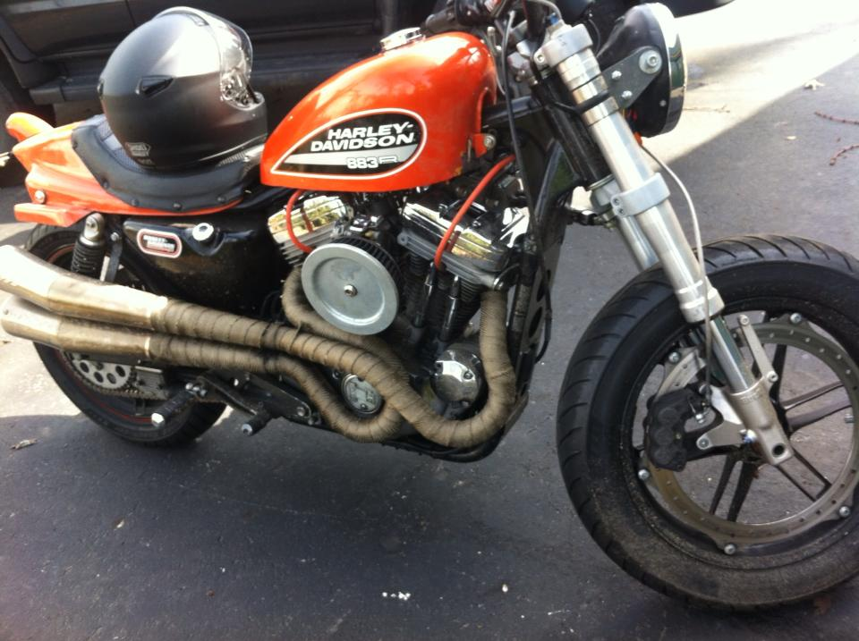 HD Flat Track Bike. Buell front end.