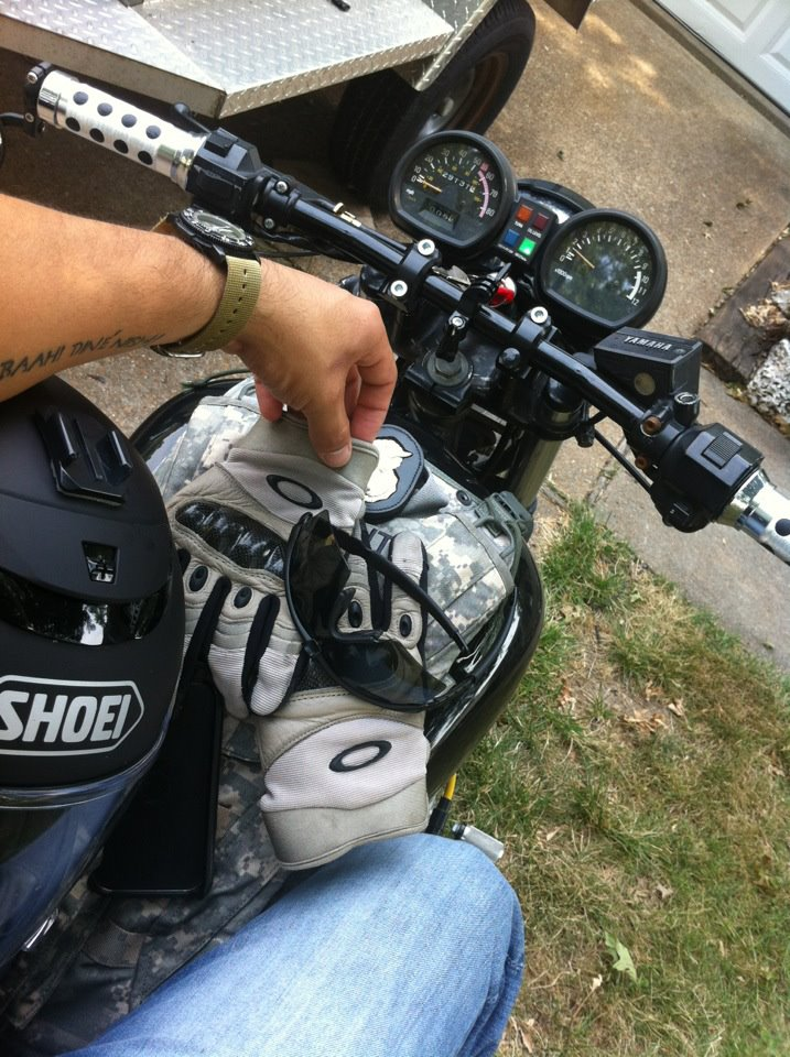 Getting ready to ride. Yamaha XJ750 Bobber.