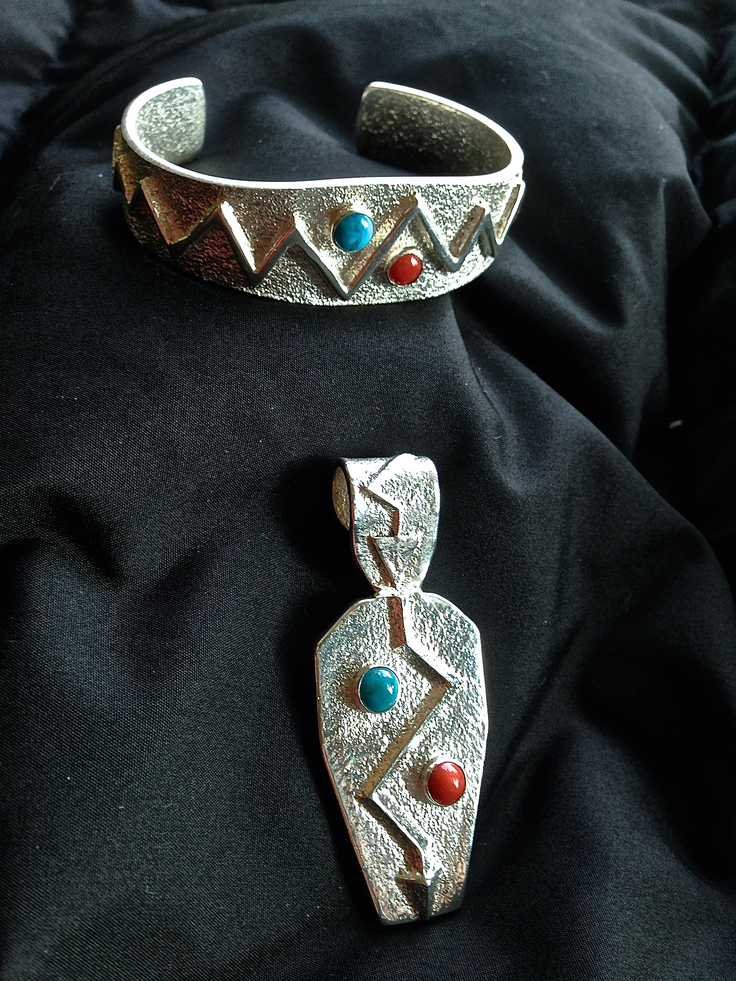 Sterling Silver, Kingman Turquoise & Red Coral