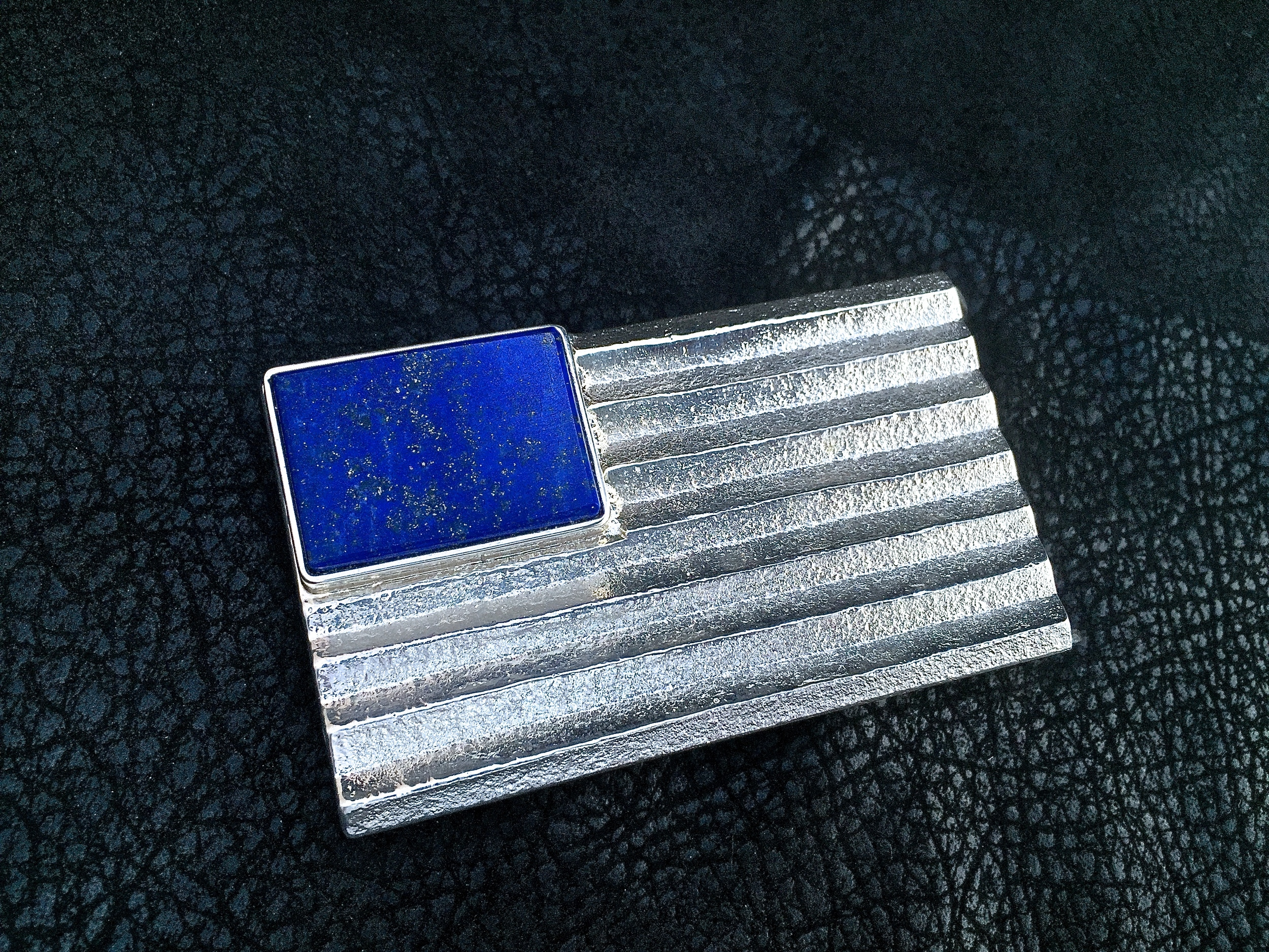 American Jedi Buckle.  Sterling Silver & Afghanistan Lapis