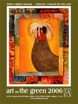 The 2006 Poster Contest Winner was  Alan McNeil  of Troy, Montana. Alan has won 6 other awards from Art on the Green, including a prior poster in 1997, and the Best of Show Award in 1999. Alan McNeil's paintings are found in public and private art collections throughout the world. Since earning a Masters Degree from the University of Montana in 1987, McNeil has worked with a variety of media including wood-fired ceramics, sculpture, and painting, Most recently he has developed a unique series of mixed-media paintings which combine oil paint, encaustic, and black and white photography.