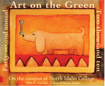 The 2010 Poster Contest Winner was Alan McNeil of Troy, Montana. Alan has won 7 other awards from Art on the Green, including prior posters in 2006 and 1997, and the Best of Show Award in 1999. Alan McNeil's paintings are found in public and private art collections throughout the world. Since earning a Masters Degree from the University of Montana in 1987, McNeil has worked with a variety of media including wood-fired ceramics, sculpture, and painting, Most recently he has developed a unique series of mixed-media paintings which combine oil paint, encaustic, and black and white photography.