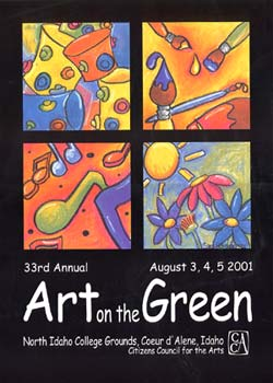 The 2001 Poster Design Contest Winner is  Sara Schroeder . Sara Schroeder is a freelance artist currently living in Gainesville, Florida with her husband and son. Born and raised in north Idaho, Art on the Green has been a favorite summertime event for as long as she can remember. Sara's artistic style revolves around whimsy and color, freedom and movement. The crowds of people at Art on the Green inspire just such a festive, carefree feeling -- proposing perfect subject matter for one of her illustrations. Currently Sara is working on a children's book and hopes to continue successfully in that field.