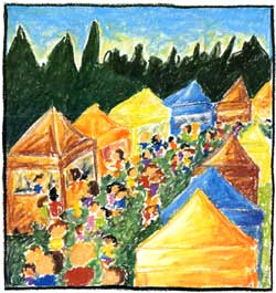 The 2000 Poster Design Contest Winner is  Sara Schroeder . Sara Schroeder is a freelance artist currently living in Gainesville, Florida with her husband and son. Born and raised in north Idaho, Art on the Green has been a favorite summertime event for as long as she can remember. Sara's artistic style revolves around whimsy and color, freedom and movement. The crowds of people at Art on the Green inspire just such a festive, carefree feeling -- proposing perfect subject matter for one of her illustrations. Currently Sara is working on a children's book and hopes to continue successfully in that field.
