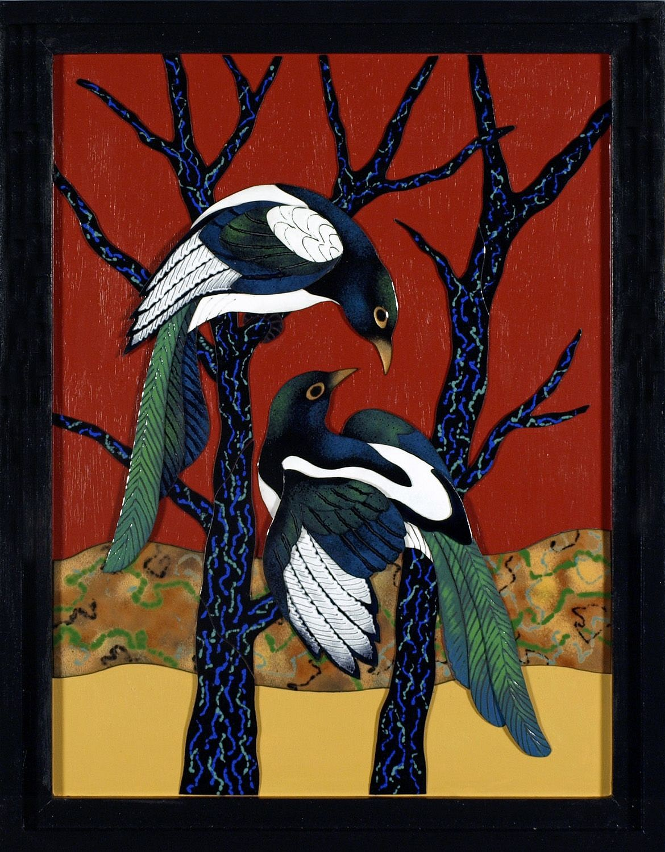 one of our 2014 winners, Tree Play (enamel) by Mary Dee Dodge of Coeur d'Alene, Idaho