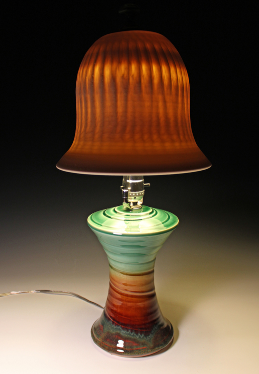 lamp with translucent porcelain shade by artist James Diem of Hood River, OR