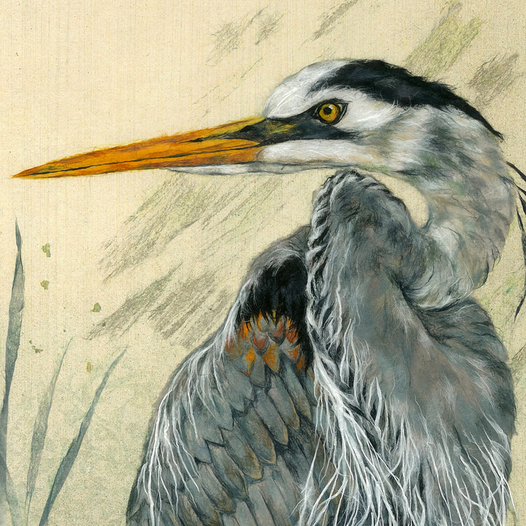 Heron by Kyoko Niikuni | Booth 54 | Chigirie is collage technique that consists of tearing and pasting hundreds of pieces of hand dyed washi paper. The tiny fibers are pasted with brush strokes to create a multi dimensional composition.