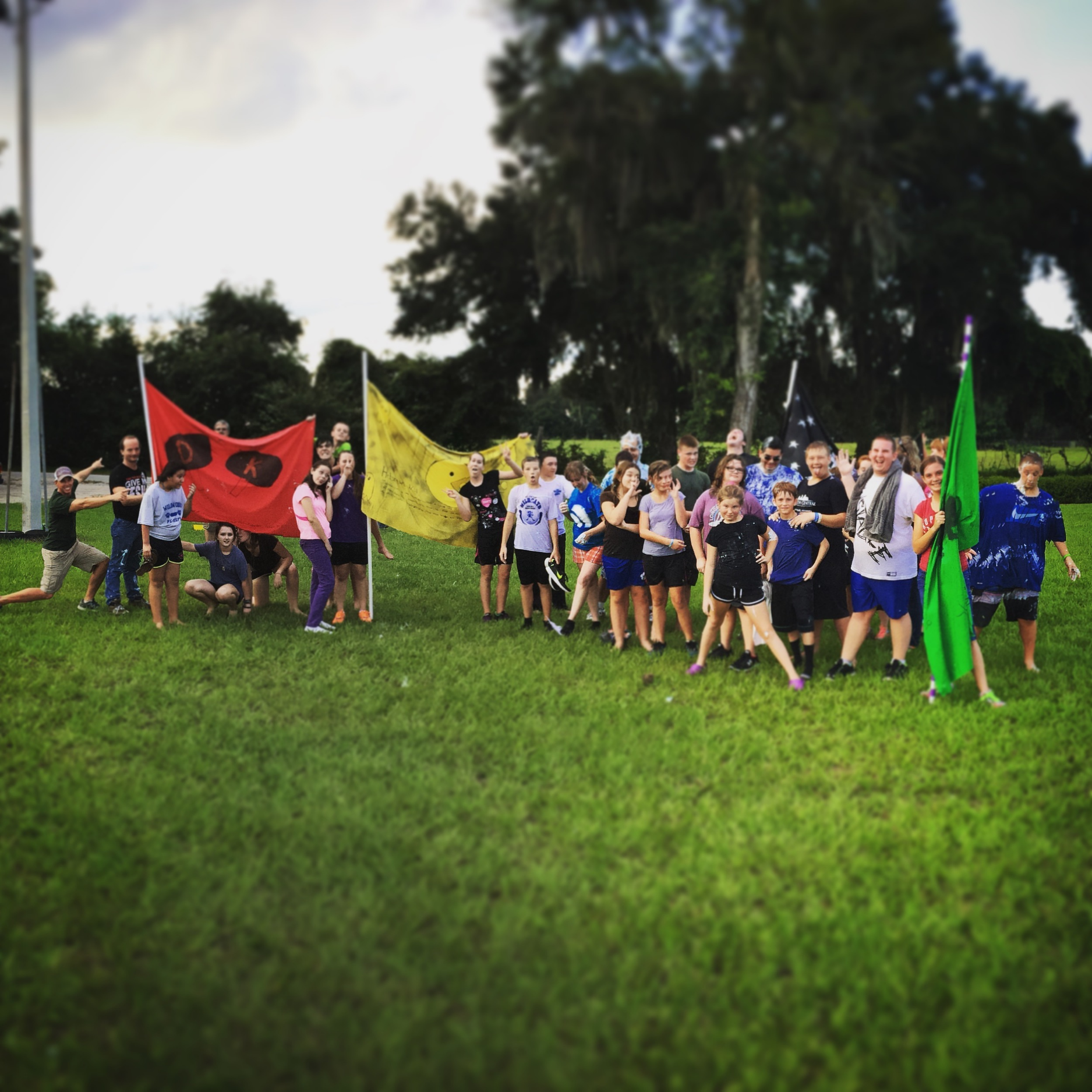 Outdoor-picture-of-teenagers-holding-team-flags-and-having-fun