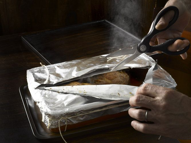 Pork chop, en papillote, cooking in parchment paper, French cooking techniques