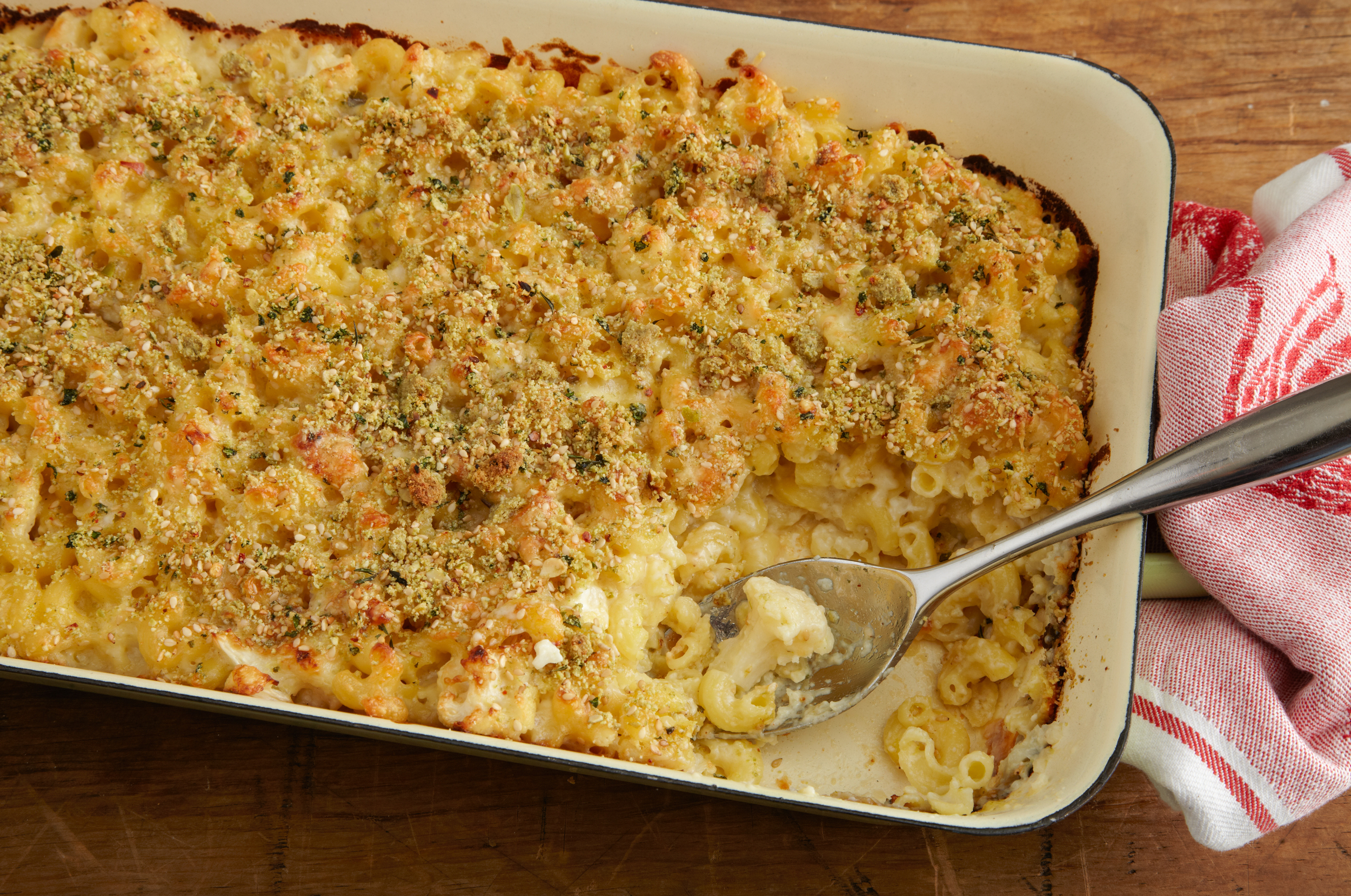 Mac and Five Cheeses with Cauliflower and a Pumpkin Seed Crust