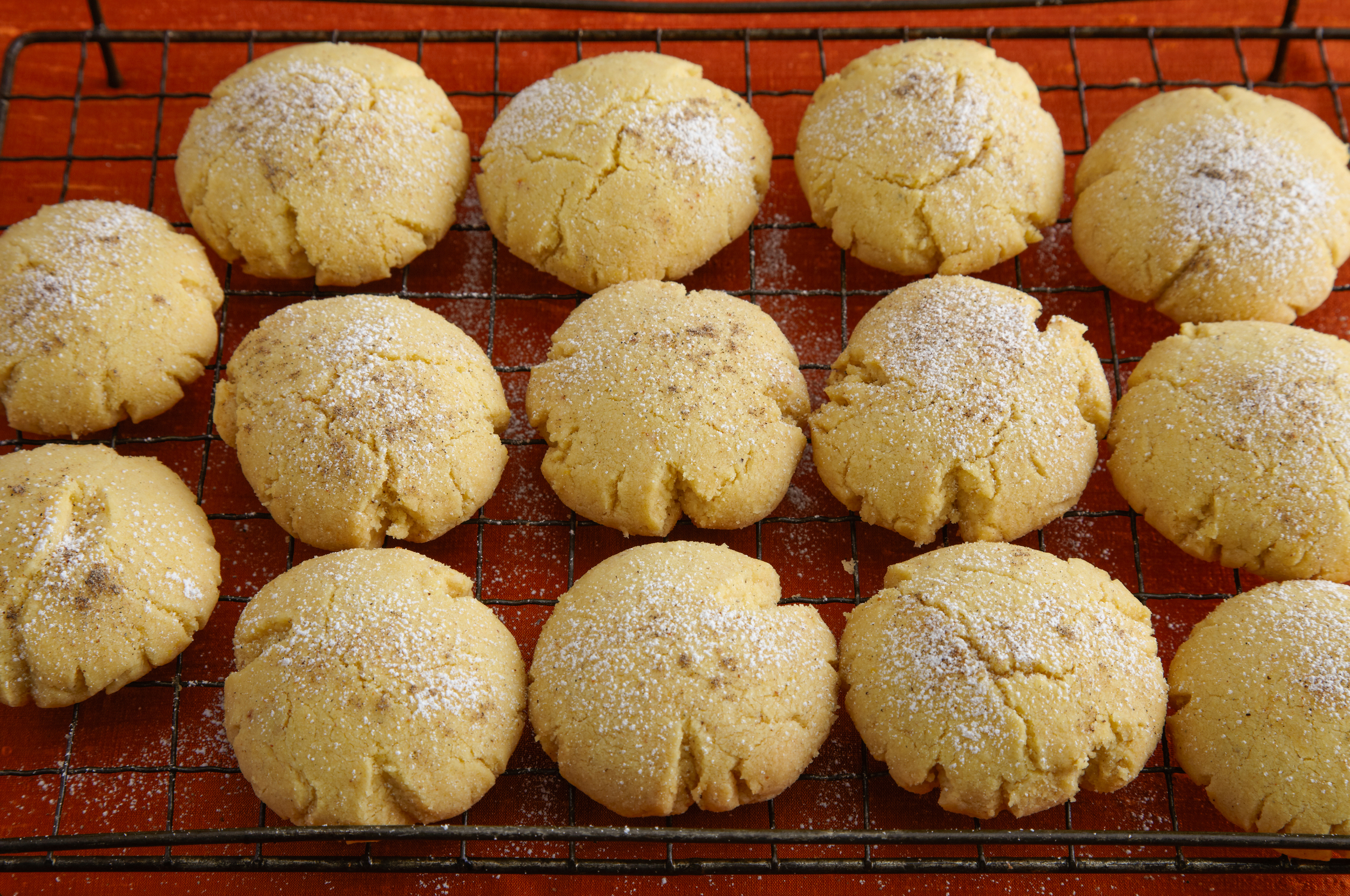 Naan Kithai  :  Indian shortbread cookies with cinnamon, confectioners sugar, and cardomom sprinkled on top.