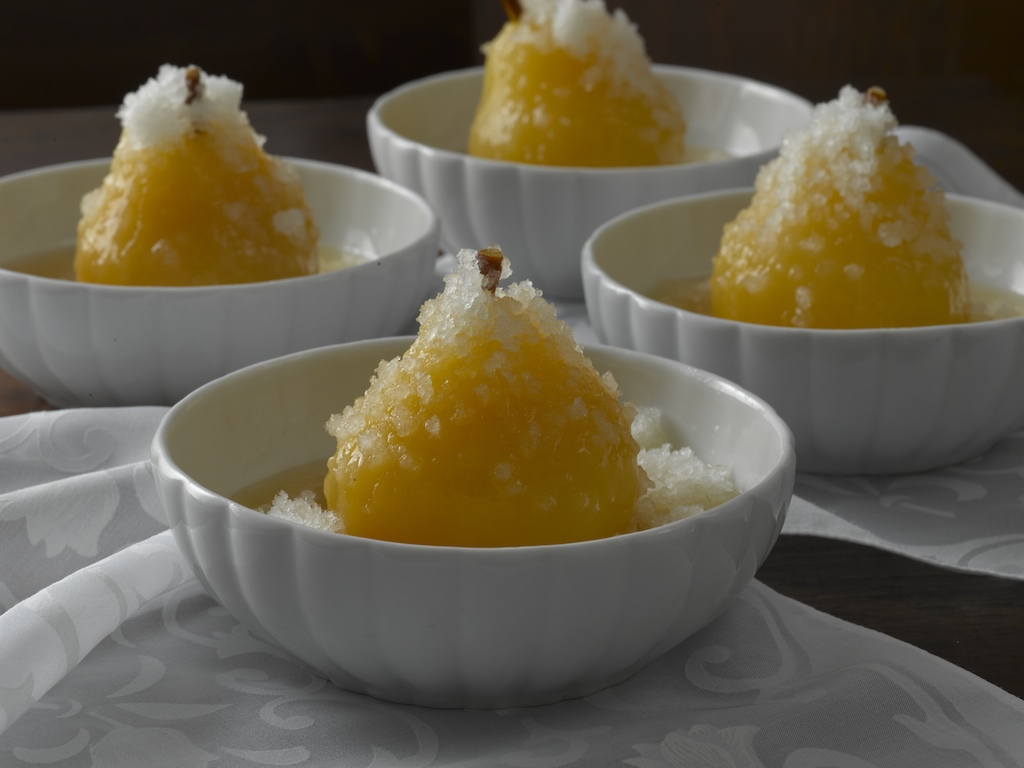 Riesling-Poached Pears with Pear Granite   :Strong floral notes from the pears and the Riesling blend nicely with the natural flavor of honey and the fragrance of lemon.