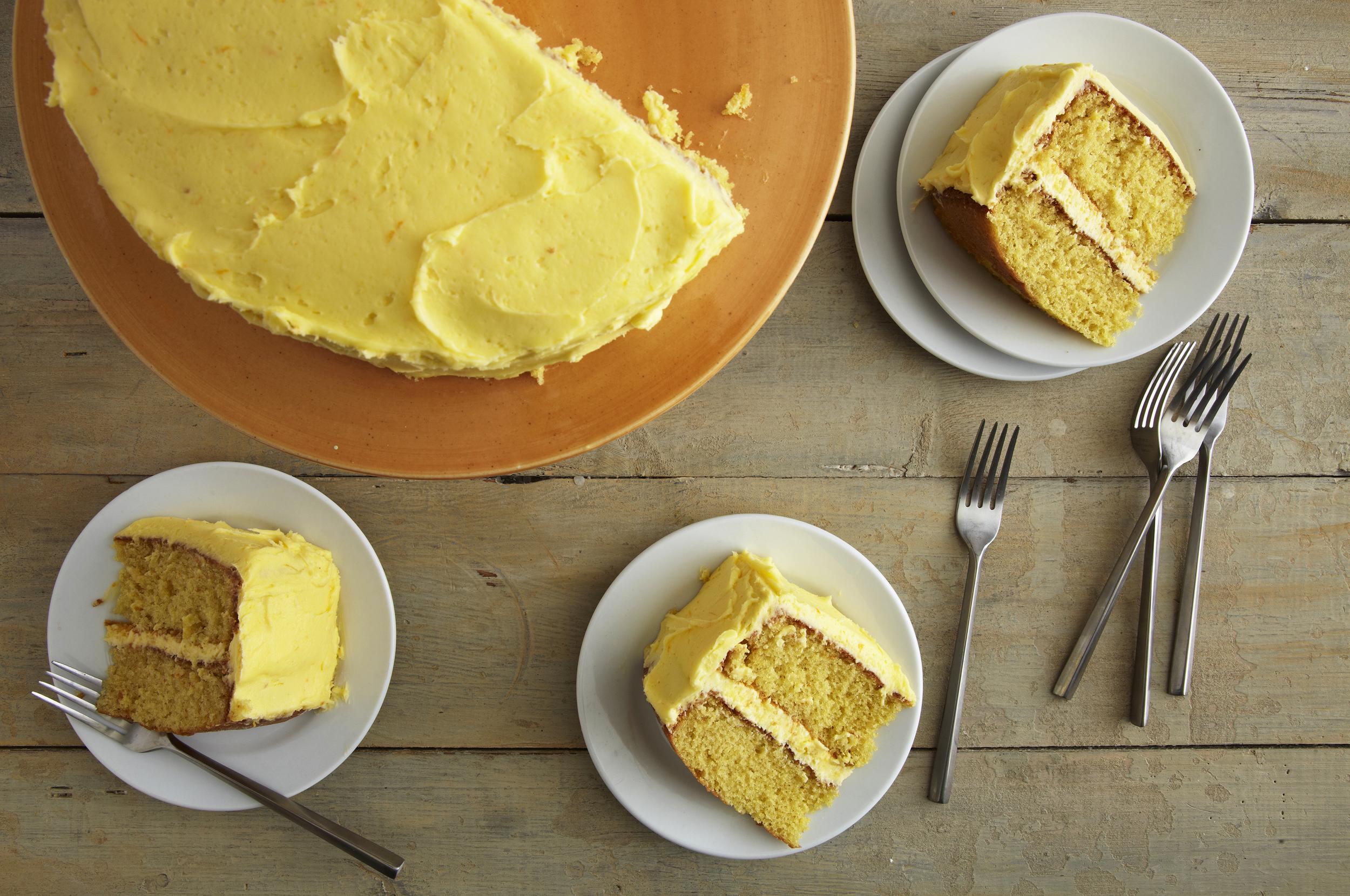 Olive Oil Orange Cake   : A simple moist cake enhanced with the natural sweetness of orange juice, orange zest, and olive oil.