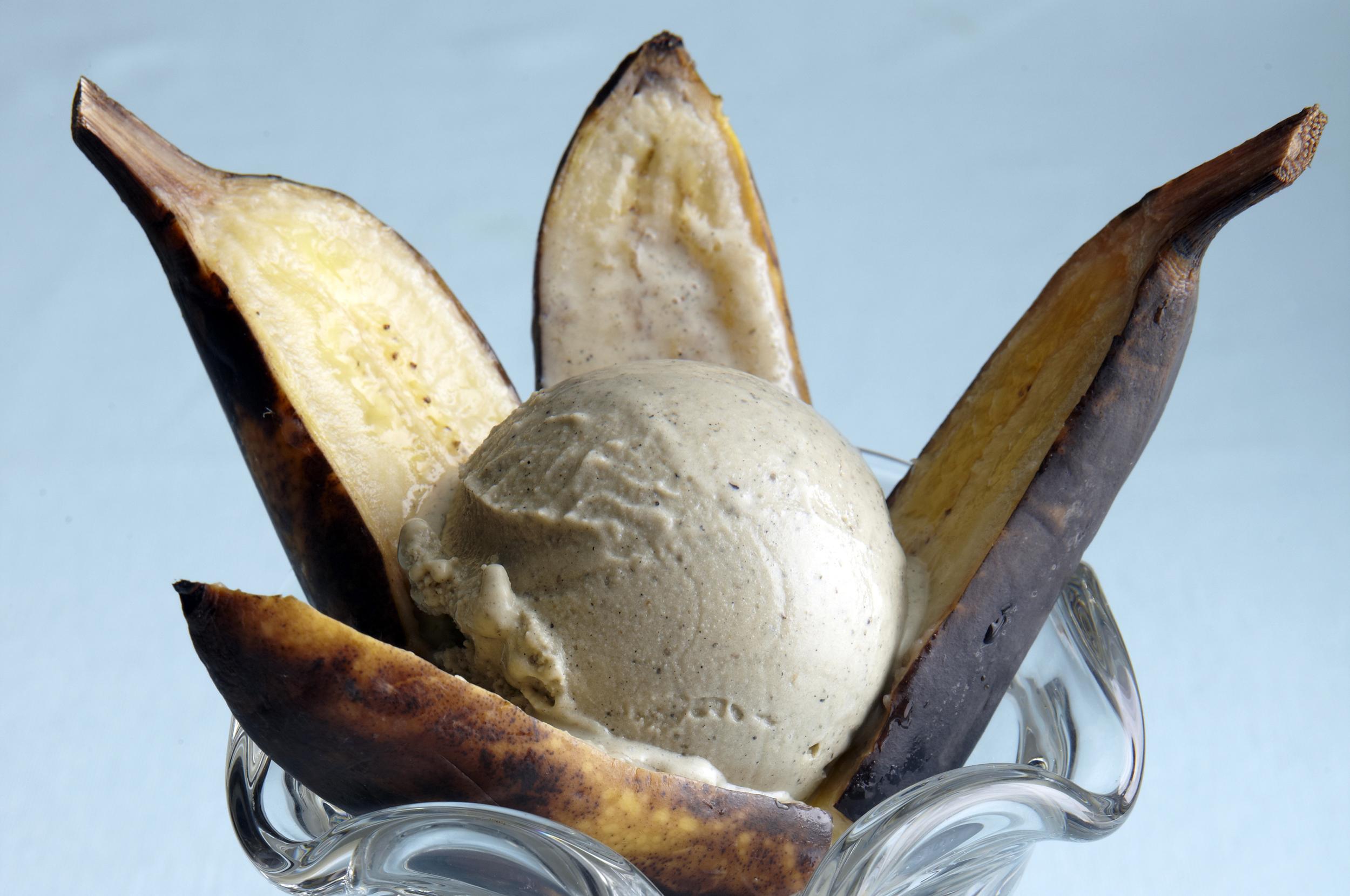 Roasted Banana-Black Sesame Tulip Sundaes   : The sweet, deep flavor of roasted banana is balanced by the boldness of black sesame.