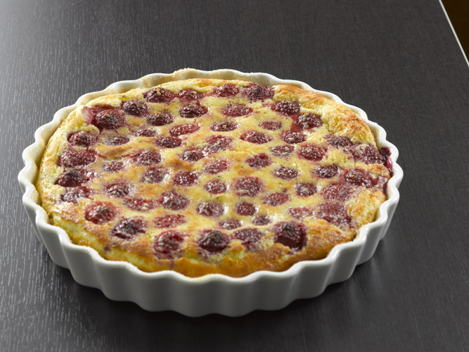 Raspberry Claufoutis   :Almond and vanilla balance with the natural flavors and acidity of the baked raspberries.