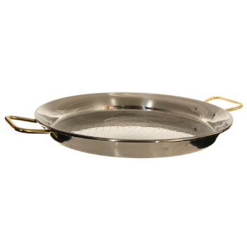 Paella Pan, $50  . Of a Spanish inclination? Specialize in your cuisine with this enormously practical pan.