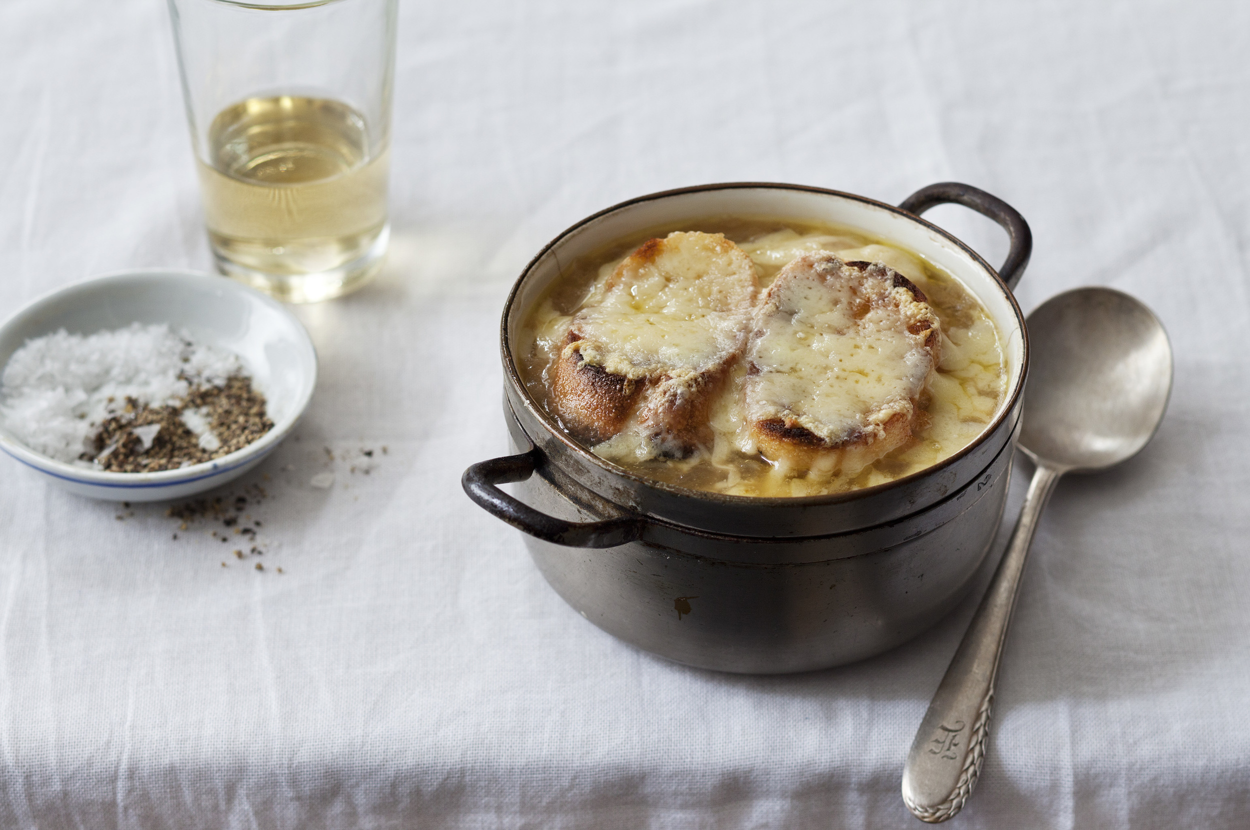 French Onion Soup with Roasted Bone Marrow:   French onion soup with gruyere livened up with the unctuous, indulgent flavour of roasted bone marrow.