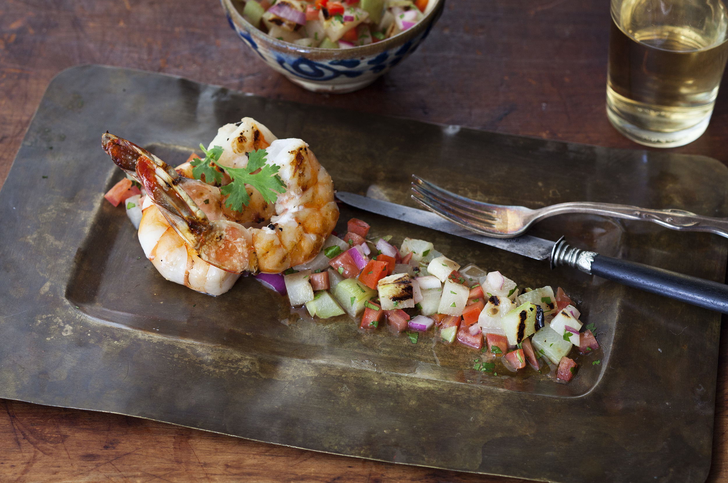 Grilled Shrimp and Chayote Salad