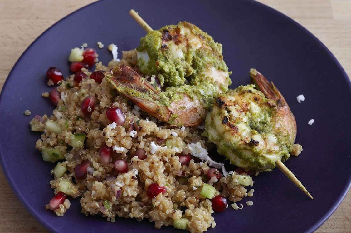 Haryali Shrimp Kebabs on Quinoa Pomegranate Chaat