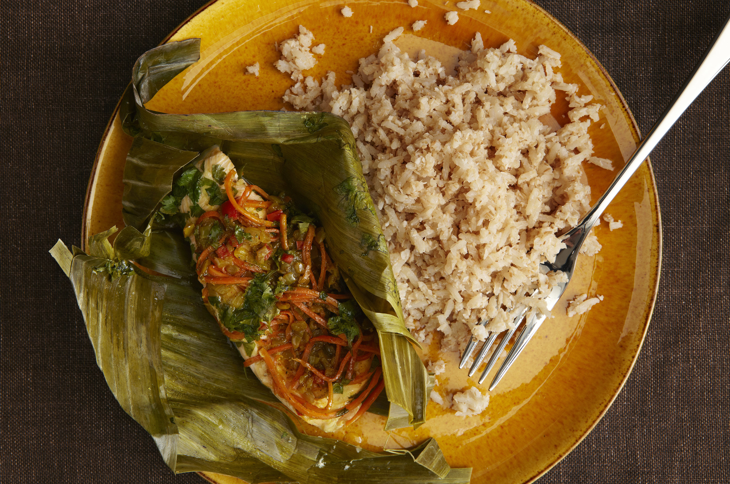 Arctic Char Steamed in Banana Leaves with San Andres Arroz de Coco