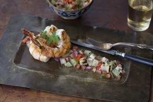Grilled Shrimp and Chayote Salad, Sherry Vinaigrette