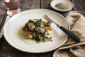 Chickpea-Crusted Red Snapper, Cilantro Yogurt Sauce