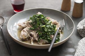 Cheesy Braised Pork Shoulder, Parmesan Brodo, Kale
