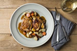 Chicken Thighs Braised in Fennel Caramel, Winter Vegetables