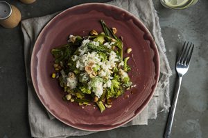 Charred Vegetable Salad, Crab and Hazelnuts