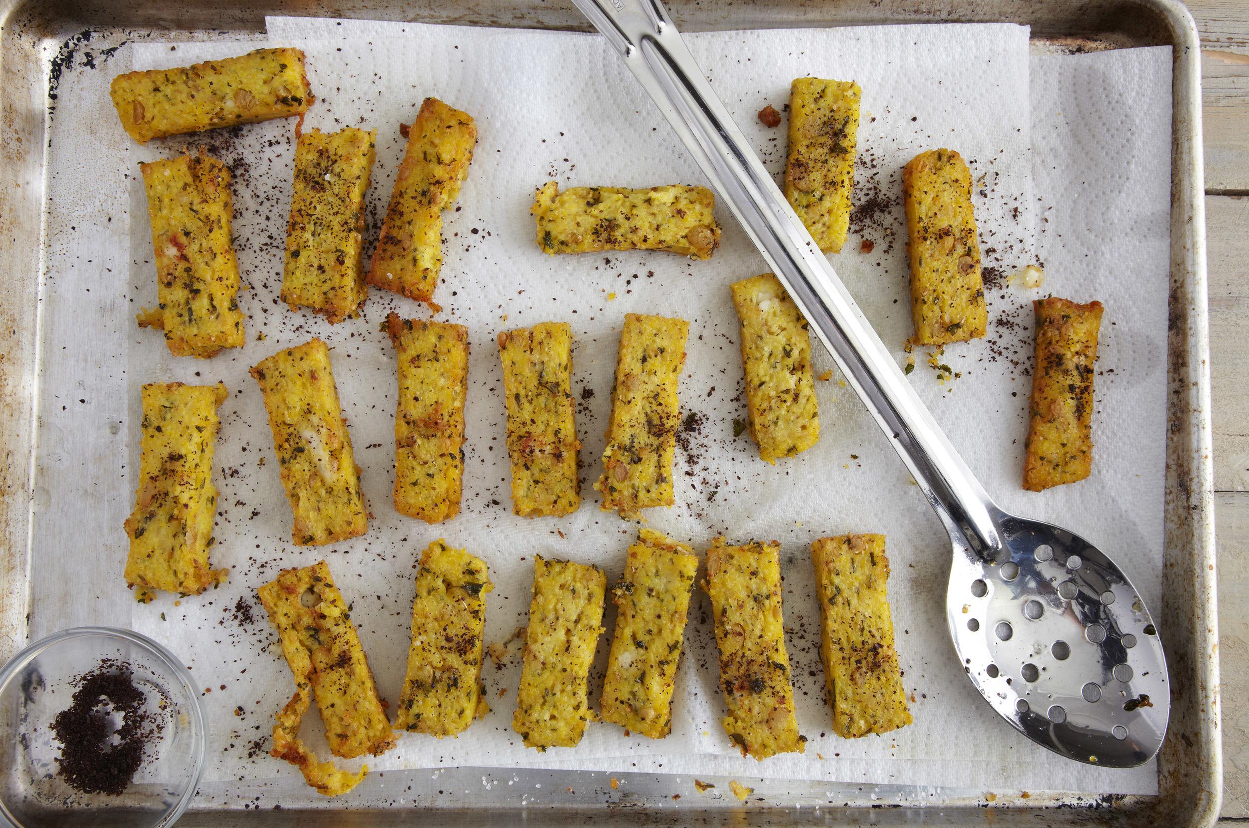 Chickpea Polenta Frites with Sumac and Feta