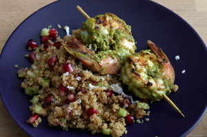 Haryali Shrimp Kebab on Pomegranate Quinoa Chaat